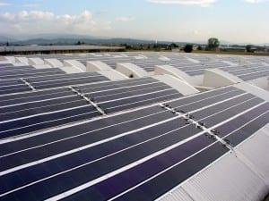 Solar panels at Sofidel's Soffass converting facility in Porcari, Italy