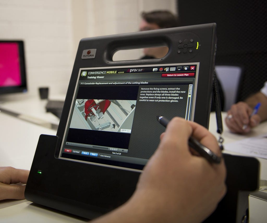 The ProTablet can be docked and integrated with the customer's own IT system