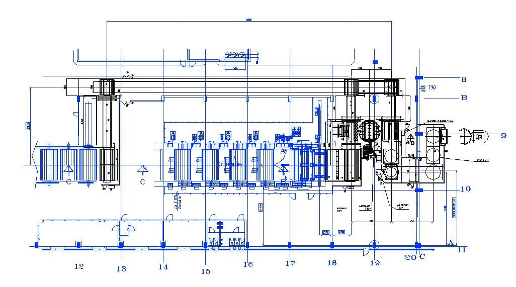 Layout showing typical rolls flow from paper machine and combing to warehouse