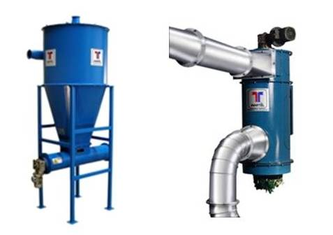 Typical devices used to discharge the collected dust. On the left is the cyclone separator with final horizontal screw conveyor. The second is a vertical compactor where the screw conveyor is inside in a vertical position.