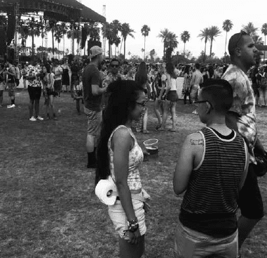 An innovative way to carry loo roll when at California's  Coachella music festival