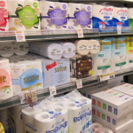 A variety if tissue products on sale at a local supermarket