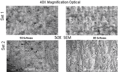 Figure 5A.   Set 1, Low magnification optical microscope pictures of the sheet surfaces.  Set 2 almost identical magnification with SEM shots of the same surfaces.  85 softness shows finer crepe and more amplitude to the crepe.