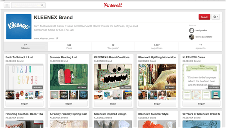A rich Pinterest page for the Kleenex brand