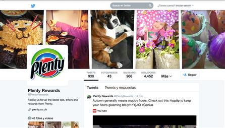 The Plenty brand's Twitter page