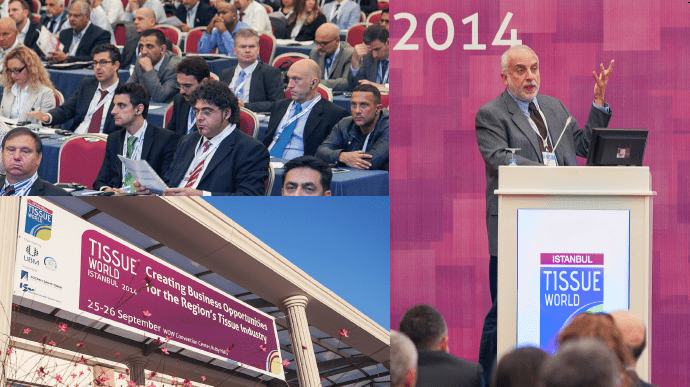 Clockwise from left: the conference crowd with tissue professionals from countries including Turkey, Germany, UAE, the Middle East, Italy; Professor Soli Özel address the crowd; the inaugural Tissue World Istanbul.