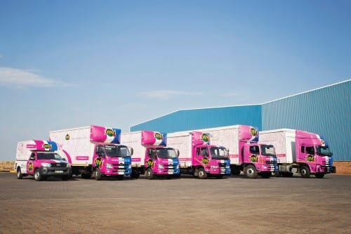 A fleet of trucks advertising the Dinu brand of tissue products