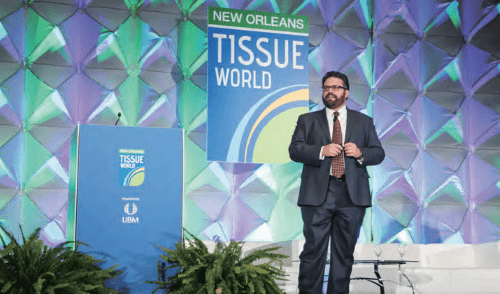 Keynote speaker Don Lewis, president, SCA AfH Professional Hygiene, helps to kick off the conference in New Orleans