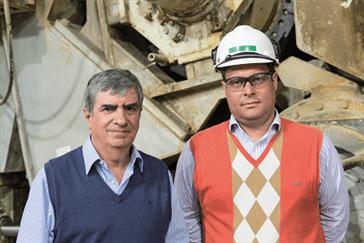 Left to right: Carlos Hirigoyen, corporate director of industrial development, CMPC Tissue; Felipe Harding De La Fuente, mill manager, Talagante
