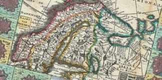 """Royaume de Suede"", La Feuille Map of Scandinavia (Sweden, Norway, Finland), Daniel de Lafeuille (1640–1709). Source WikiCommons CC."