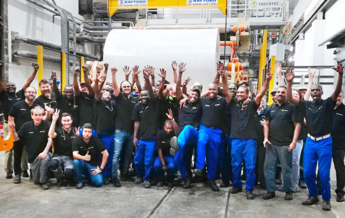 Start-up cheers: The team at the Picknik Marketing Pty launch of the Toscotec-supplied MODULO-PLUS tissue machine at its Johannesburg mill