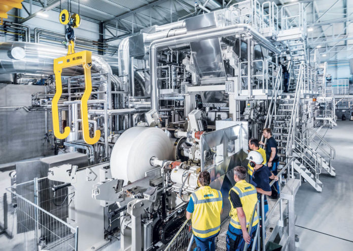 Advance in dry crepe tissue: Andritz's new tissue machines PrimeLineVRT with its Vertical Crescent Former enhancing dewatering of the fibre web